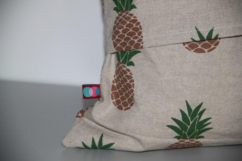 Kleinesbild - Kissenhülle Ananas natur passend für 40x40cm