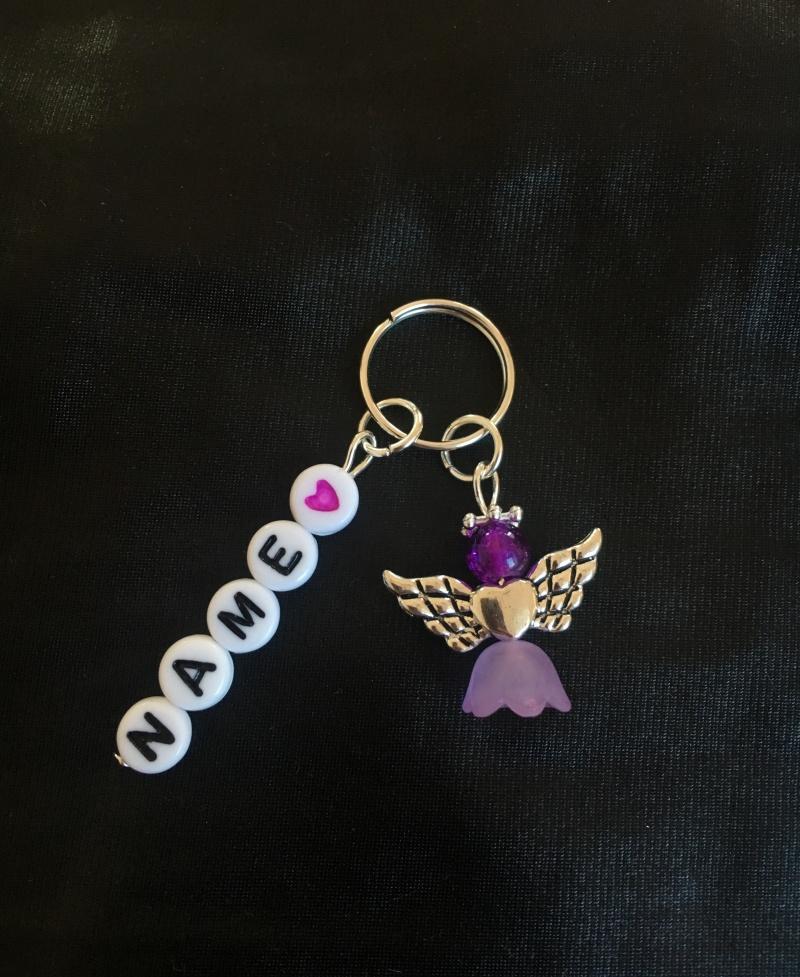 Kleinesbild - ☆ Wunschname Schlüsselanhänger, Perlenengel, Schutzengel, Geschenk, Farbauswahl ☆