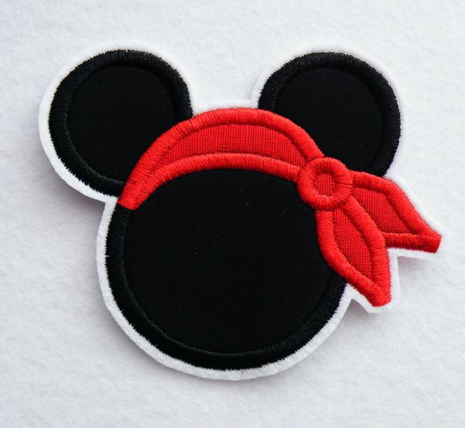 - Applikation Maus Kopf mit Piratentuch - Applikation Maus Kopf mit Piratentuch