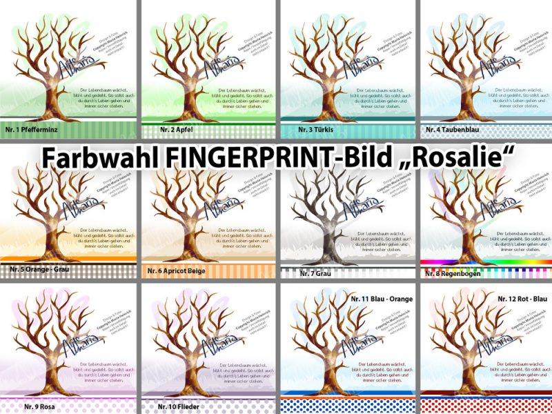 Kunst fingerprint taufbaum rosalie farbwahl taufgeschenk g stebuch kinderzimmer bild tauf - Farbwahl kinderzimmer ...