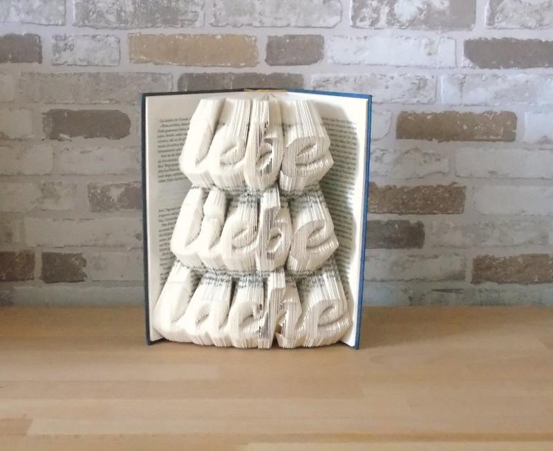 Kleinesbild - gefaltetes Buch - Lebe liebe lache // Buchkunst // Bookfolding // Book Art // Muttertag // Valentinstag // Geburtstag // Geschenk