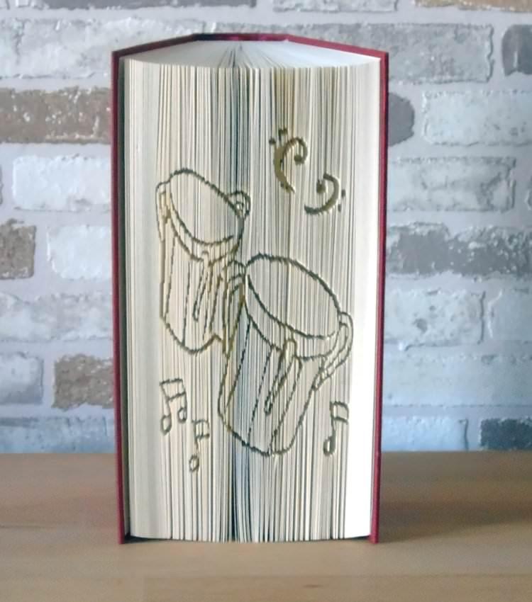 Kleinesbild - gefaltetes Buch - Bongo Drums // Buchkunst // Bookfolding // Geschenk // Musik // Musikliebhaber // Dekoration