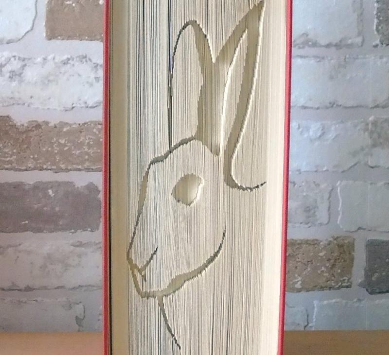 Kleinesbild - gefaltetes Buch - Hasenkopf Silhouette // Buchkunst // Bookfolding // Book Art // Geschenk // Hase // Kaninichen // Tierfreund
