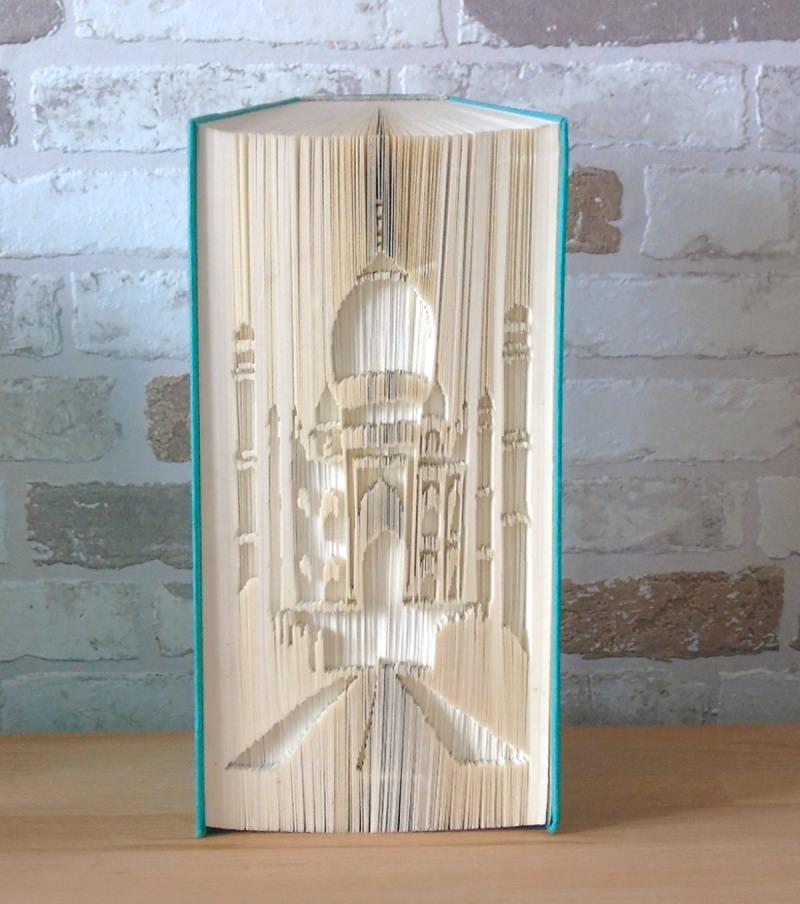 Kleinesbild - gefaltetes Buch Taj Mahal // Buchkunst // Bookfolding // Buchfalten // Dekoration // Liebe // Freundschaft // Architektur // Indien