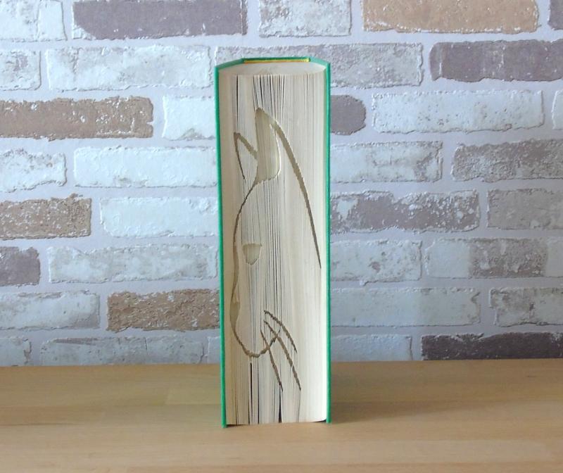 Kleinesbild - gefaltetes Buch - Katzenkopf Silhouette // Buchkunst // Bookfolding // Geschenk // Katzenliebhaber // Dekoration // Katzenfreund