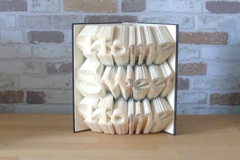 Kleinesbild - gefaltetes Buch - Home Sweet Home // Bookfolding // Buchkunst // Book Art // Buchfalten // Geschenk zur Einweihung, Einzug // neues Heim