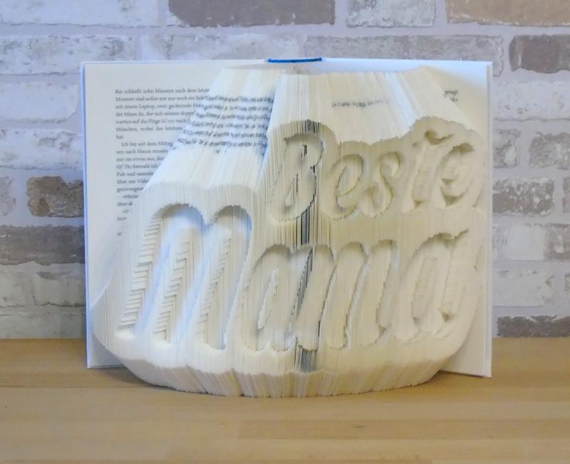 Kleinesbild - gefaltetes Buch - Beste Mama // Buchkunst // Bookfolding // Dekoration // Muttertag // Geburtstag // Geschenk