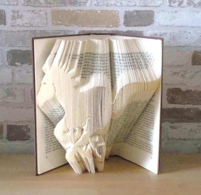 Kleinesbild - gefaltetes Buch - rennendes Pferd // Buchkunst // Bookfolding // Dekoration //Geschenk // Pferdenarr // Pferdeliebhaber