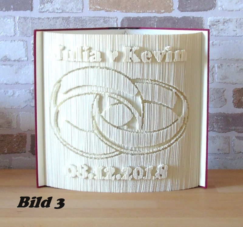Kleinesbild - gefaltetes Buch - Ringe mit Datum // Buchkunst // Bookfolding // Hochzeit // Dekoration // Hochzeitsgeschenk