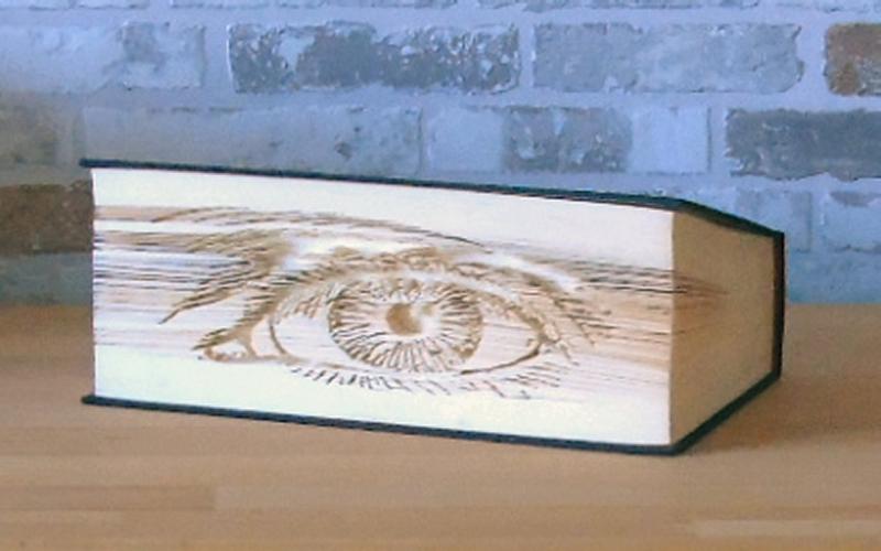 Kleinesbild - gefaltetes Buch - Auge // Buchkunst // Bookfolding // Book Art // Dekoration // Geschenk