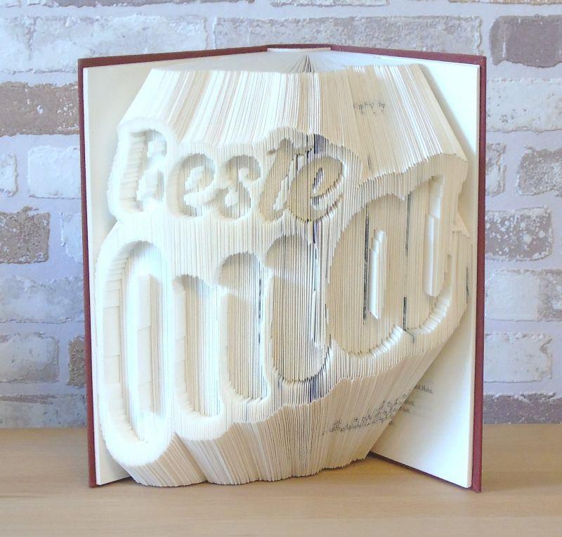 Kleinesbild - gefaltetes Buch - Beste Oma // Buchkunst // Bookfolding // Dekoration // Dankeschön // Geschenk // Omi // Großmutter