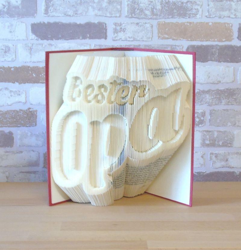 Kleinesbild - gefaltetes Buch - Bester Opa // Buchkunst // Bookfolding // Dekoration // Geschenk // Großvater // Dankeschön