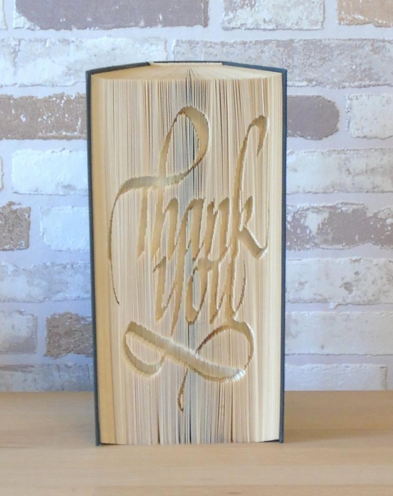 Kleinesbild - gefaltetes Buch - Thank you // Buchkunst // Bookfolding // Geschenk // Dekoration // Dankeschön // Book Art