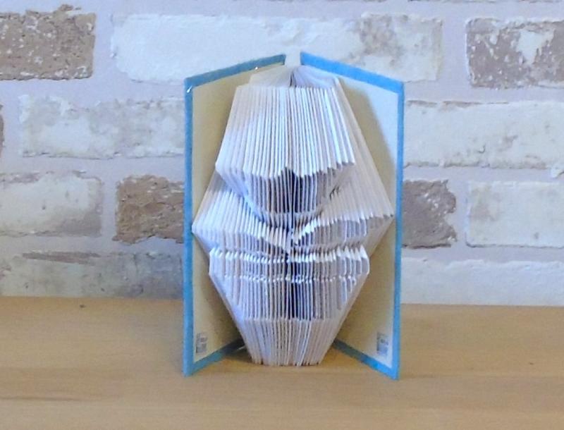Kleinesbild - gefaltetes Buch - Blume in Topf in einem handgebundenen Notizbuch A7 // Buchbinden // koptische Bindung // Buchkunst // Bookkfolding