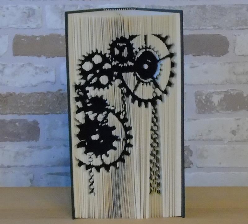 Kleinesbild - gefaltetes Buch - Zahnräder senkrecht // Buchkunst // Dekoration // Geschenk // Book Art