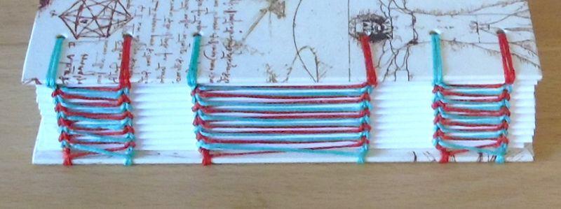 Kleinesbild - Notizbuch A6 - Leonardo mit rot-grüner Bindung // Tagebuch // Geschenk // Diary // Erinnerung // blanko
