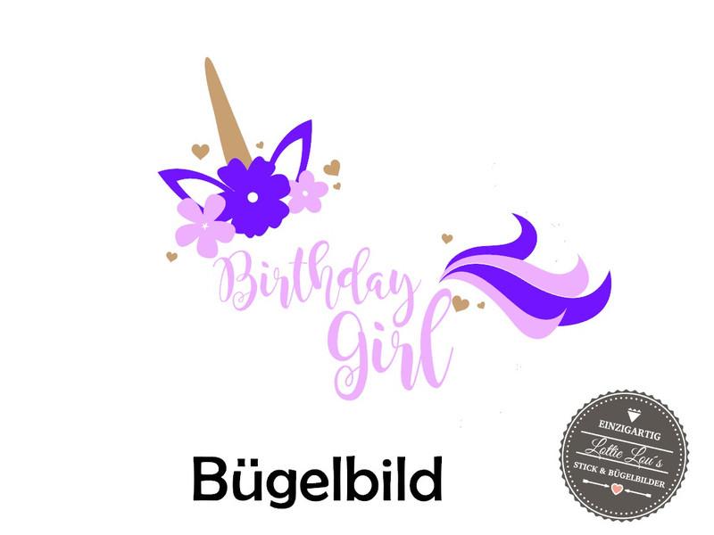 Kleinesbild - Bügelbild Geburtstag Birthday Girl Einhorn Unicorn in Flex