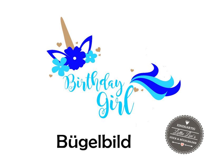 Kleinesbild - Bügelbild Geburtstag Birthday Girl Einhorn Unicorn in  Glitzer, Flock, Effekt