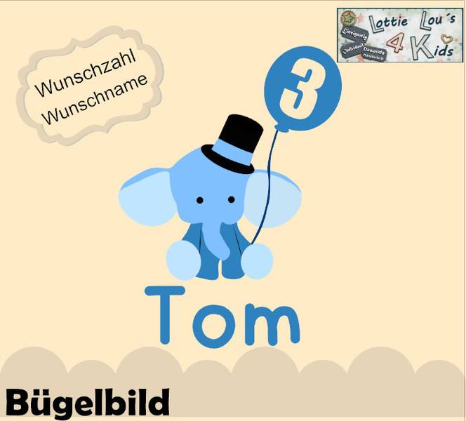 - Individuelles Bügelbild Elefant mit Luftballon  mit Zahl  und Name Aufbügler in Flex XXL  - Individuelles Bügelbild Elefant mit Luftballon  mit Zahl  und Name Aufbügler in Flex XXL