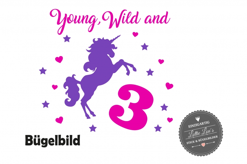 Kleinesbild - Bügelbild Geburtstag Birthday Wild & Three  Einhorn Unicorn Pferd  personalisiert mit Name