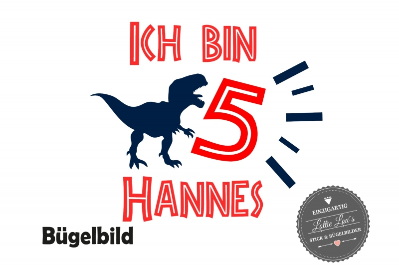 Kleinesbild - Bügelbild Dinosaurier Dino T-Rex zum Geburtstag Birthday mit Zahl und Name