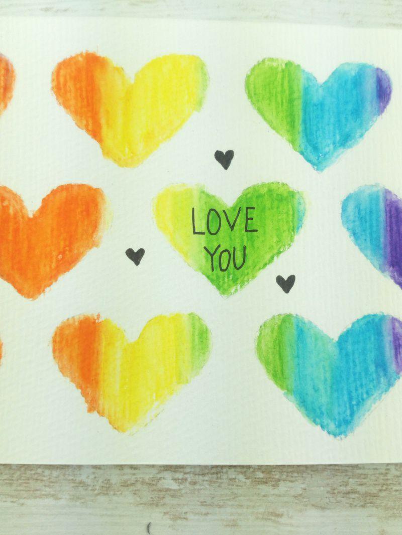 Kleinesbild - ORIGINAL Aquarell-Postkarte LOVE YOU