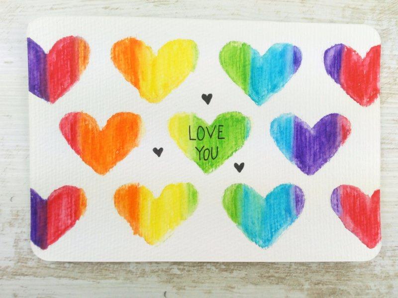 - ORIGINAL Aquarell-Postkarte LOVE YOU - ORIGINAL Aquarell-Postkarte LOVE YOU