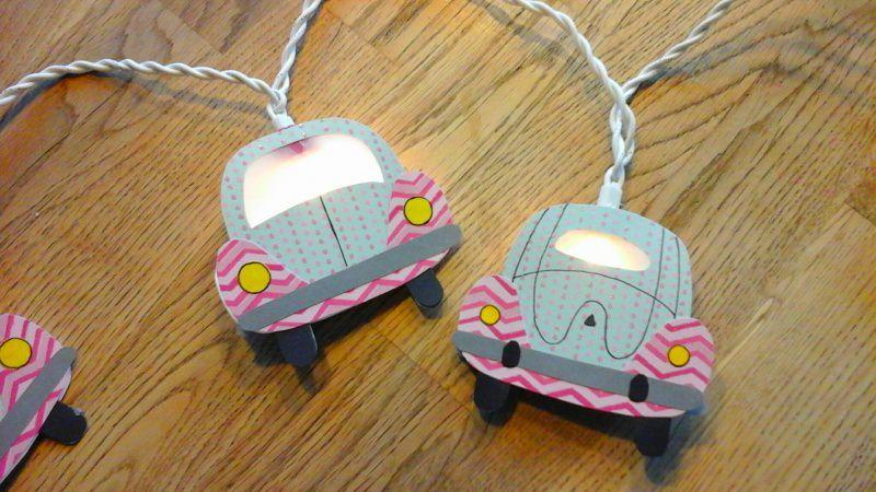 - Lichterkette Käfer mint-rosa, gebastelt aus verschiedenen Papieren, für den Innenbereich  - Lichterkette Käfer mint-rosa, gebastelt aus verschiedenen Papieren, für den Innenbereich