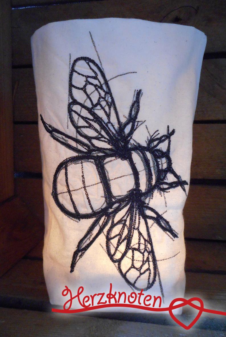 - Lichtbeutel, bestickt mit Biene, tolles Licht, Lichterbeutel, gemütlich !  - Lichtbeutel, bestickt mit Biene, tolles Licht, Lichterbeutel, gemütlich !
