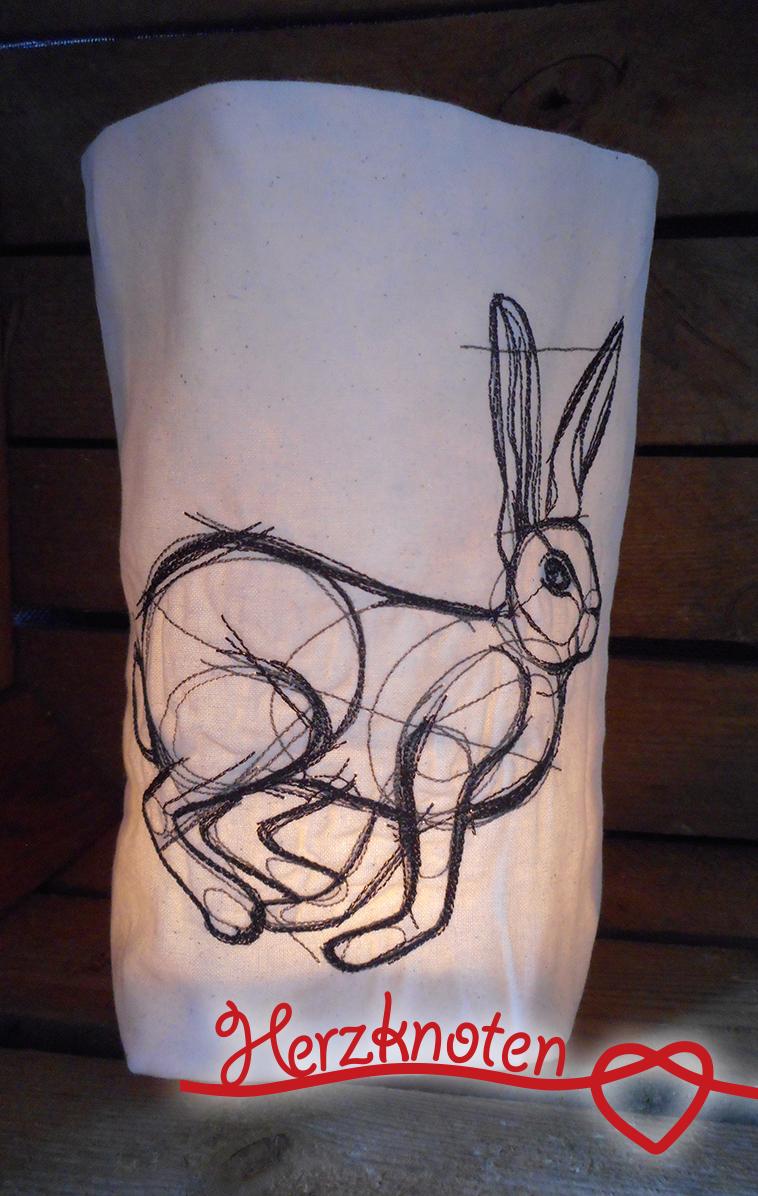 - Lichtbeutel, bestickt mit Hase, tolles Licht, Lichterbeutel, gemütlich !  - Lichtbeutel, bestickt mit Hase, tolles Licht, Lichterbeutel, gemütlich !