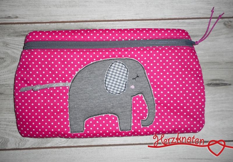 - Tasche mit Elefant, pink gepunktet  & grau kariert , super süß ! - Tasche mit Elefant, pink gepunktet  & grau kariert , super süß !