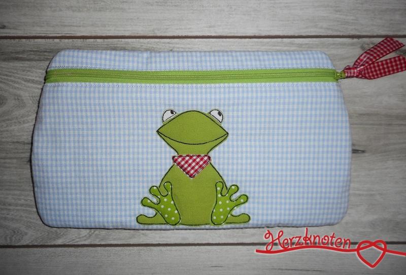 - Tasche mit Frosch, hellblau kariert mit grün, super süß ! - Tasche mit Frosch, hellblau kariert mit grün, super süß !