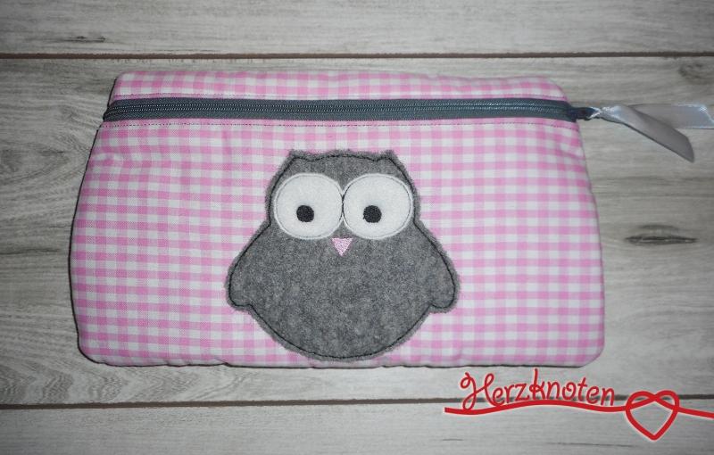 - Tasche mit Eule, rosa kariert mit grau, super süß ! - Tasche mit Eule, rosa kariert mit grau, super süß !