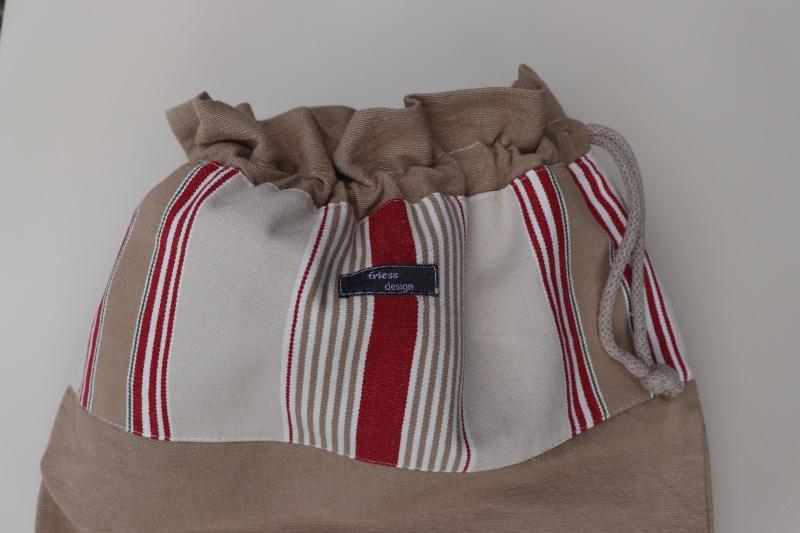 Kleinesbild - Brotbeutel *vecchio* rot gestreift Baumwolle beige von friess-design mit Kordel