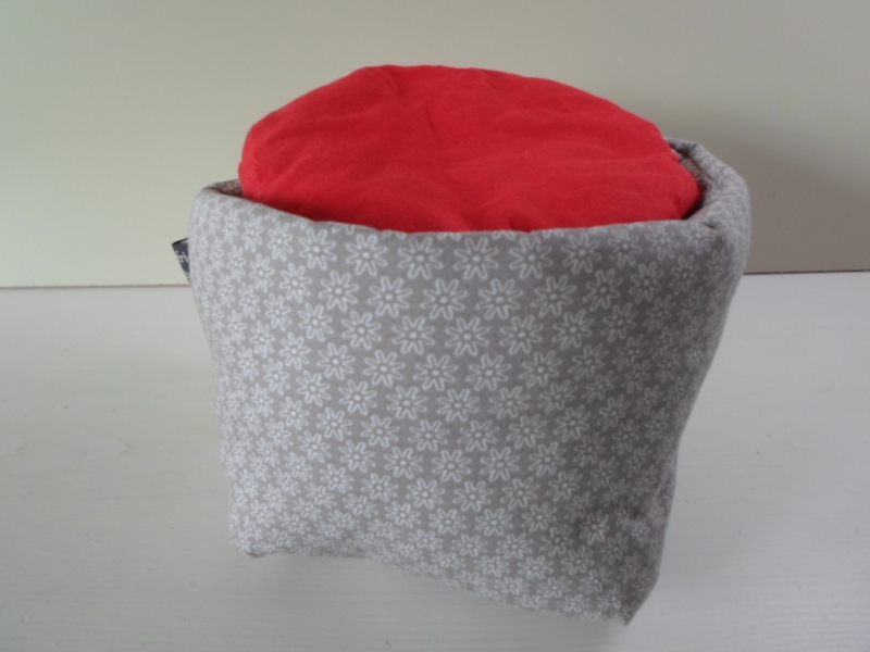 Kleinesbild - Eierkörbchen/ Eierwärmer *Sottile* Baumwolle grau mit Deckel *reserviert für Kerstin*