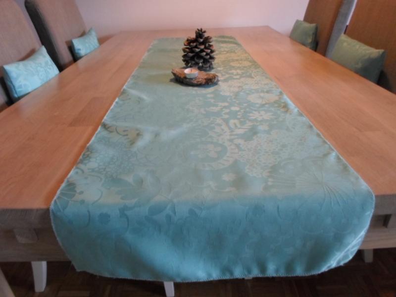 Kleinesbild - Tischläufer *Nuovo Anno* Jacquard türkis 150x40cm von friess-design