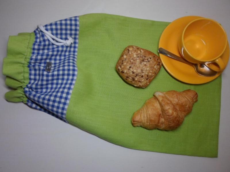 Kleinesbild - Brotbeutel *de luxe* Leinen grün/ blau kariert von friess-design mit Baumwollkordel