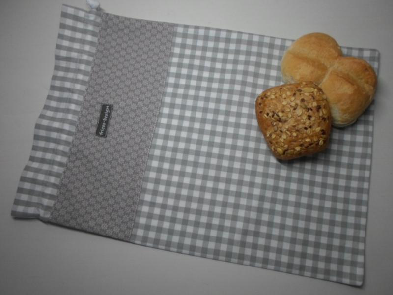 - Brotbeutel *speciale* Baumwolle grau-kariert/ sottile von friess-design - Brotbeutel *speciale* Baumwolle grau-kariert/ sottile von friess-design
