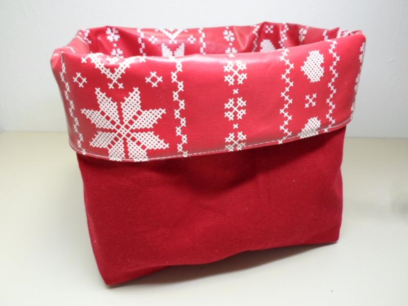 Kleinesbild - Utensilo *Stella* Wachstuch abwischbar Baumwolle rot Unikat von friess-design