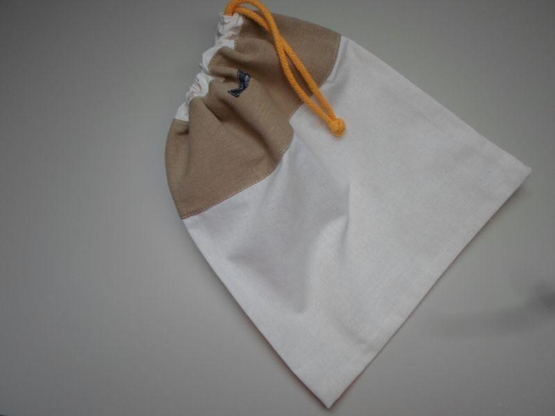 Kleinesbild - Brotbeutel *Beige* Baumwolle weiß klein von friess-design