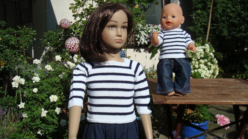 Kleinesbild - gestrickter, maritimer Pullover für Kind und Puppe, Gr. 98/104 + 43