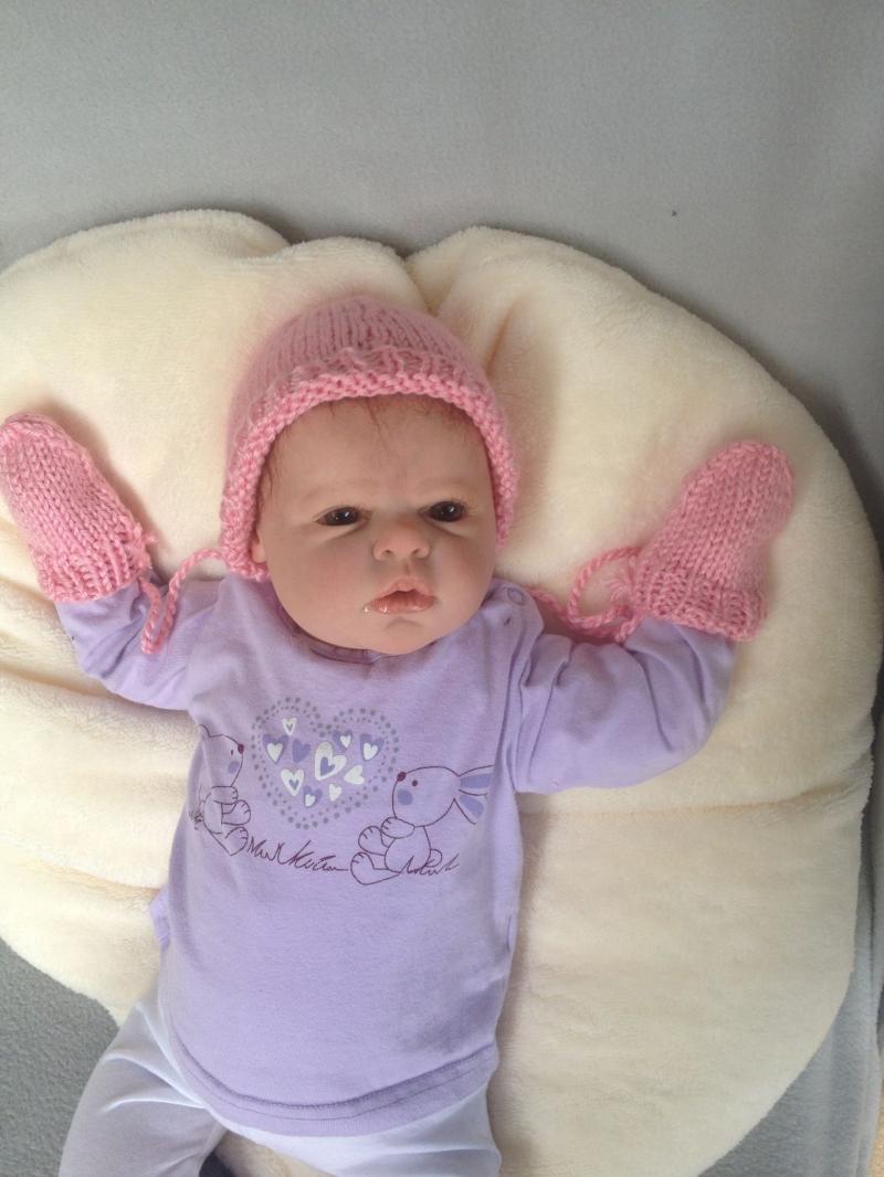 - gestrickte, rosa Babymütze und -handschuhe, Gr. 50/56 - gestrickte, rosa Babymütze und -handschuhe, Gr. 50/56