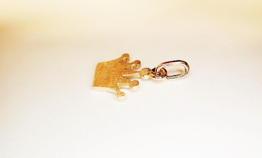 Kleinesbild - anhänger krone krönchen 585 GOLD reine Handarbeit