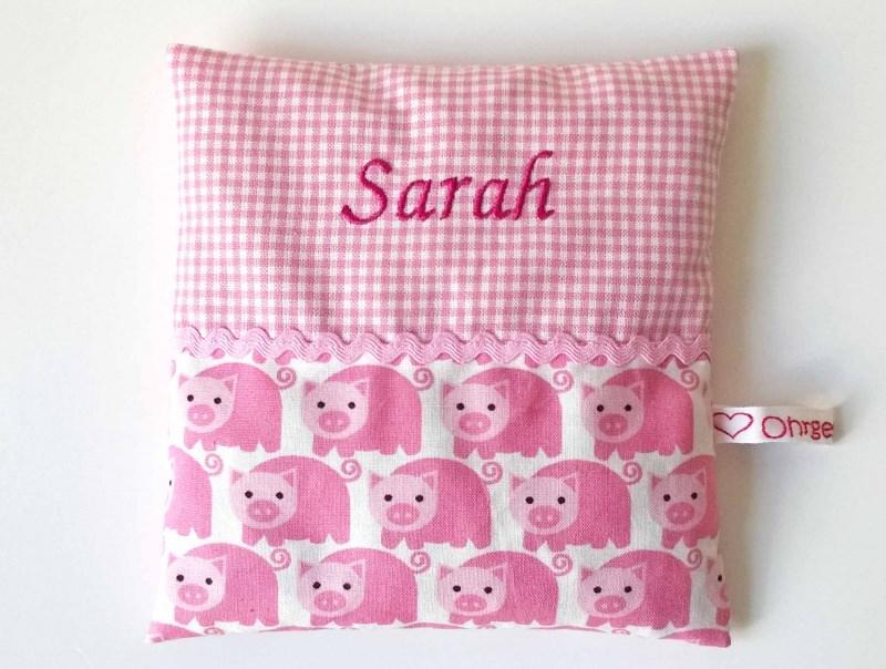 - Kirschkernkissen mit Namen bestickt ♥ Schweinchen - Kirschkernkissen mit Namen bestickt ♥ Schweinchen