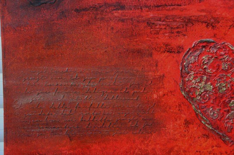 Kleinesbild - Acrylbild LIEBESBRIEFE Geschenk Valentinstag Muttertag  Malerei Kunst Unikat Keilrahmen Herzbild
