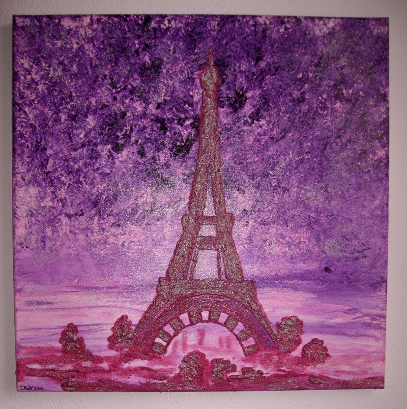 - Acrylbild PARIS PARIS Acrylmalerei für Verliebte Geschenk zum Valentinstag  - Acrylbild PARIS PARIS Acrylmalerei für Verliebte Geschenk zum Valentinstag