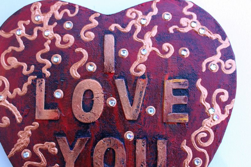 Kleinesbild - Herz Herzbild I LOVE YOU Valentinstag Geschenk Muttertag Acrylbild Collage Bild auf Keilrahmen  I LOVE YOU