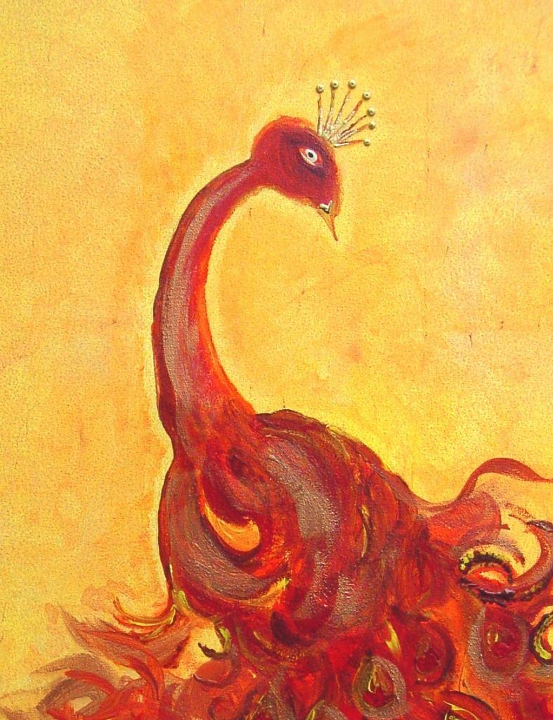 Kleinesbild - Acrylbild FEUERPFAU Acrylmalerei Gemälde abstrakte Kunst Leinwand  Malerei Pfau Tierbild