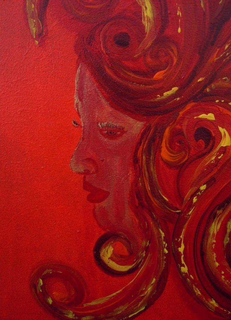 Kleinesbild - Acrylbild RED DIVA Acrylmalerei Gemälde abstrakte Kunst Wanddekoration Gesicht Frau Dame