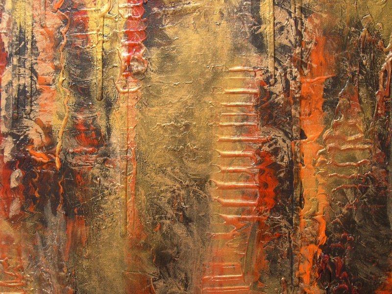 Kleinesbild - Acrylbild LAVA UND GOLD Acrylmalerei Gemälde abstrakte Kunst Wanddekoration goldenes Bild